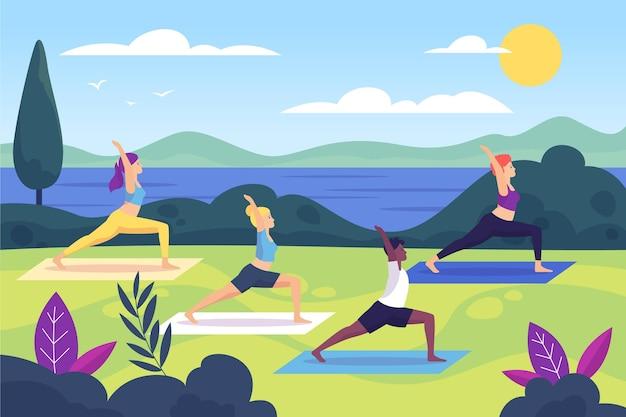 Geïllustreerde openlucht yogales Gratis Vector