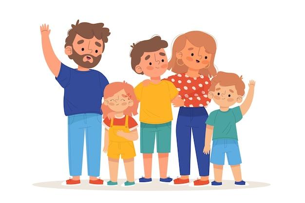 Geïllustreerde ouders met hun kinderen Gratis Vector