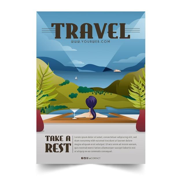 Geïllustreerde poster sjabloon voor reizende liefhebbers Gratis Vector