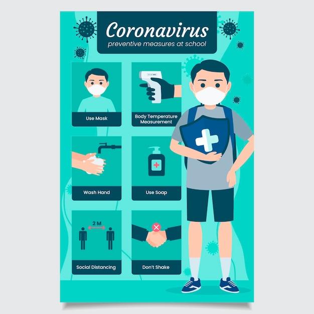 Geïllustreerde poster voor preventieve maatregelen op school Gratis Vector