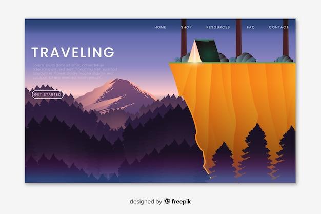 Geïllustreerde reizende bestemmingspagina Gratis Vector