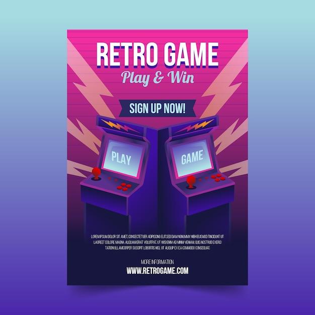 Geïllustreerde retro gaming poster sjabloon Gratis Vector
