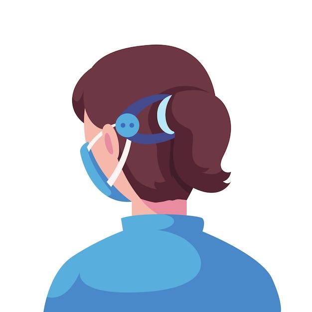 Geïllustreerde vrouw die een verstelbare gezichtsmaskerriem draagt Gratis Vector