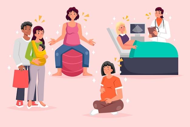Geïllustreerde zwangerschaps- en kraamscènes Gratis Vector