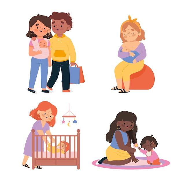 Geïllustreerde zwangerschaps- en moederschapsscènes Gratis Vector