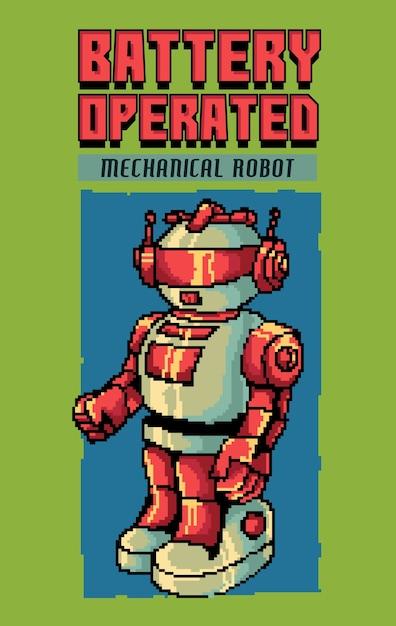 Geïnspireerd door het populaire sci-fi-filmtijdperk uit de jaren 80-90 en elektronisch speelgoed vermengd met pixelart-illustraties. Premium Vector