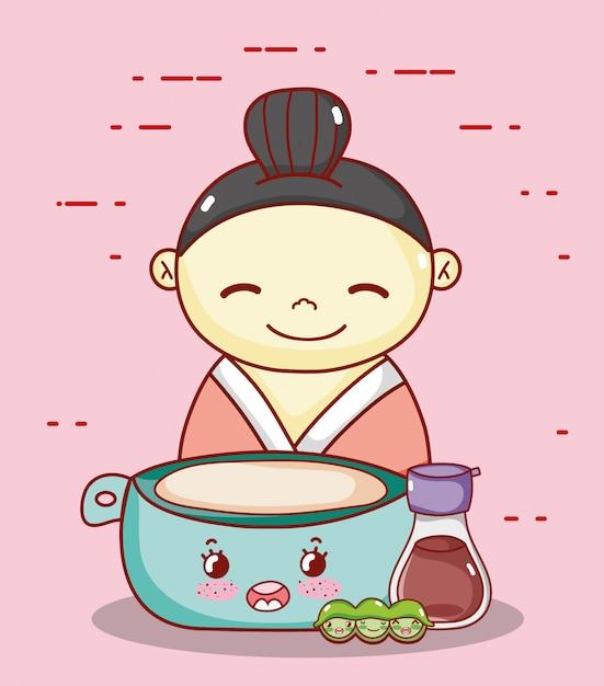 Geisha met kom sake en erwten kawaii eten japanse cartoon, sushi en broodjes Premium Vector
