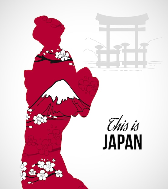 Geisha silhouet illustratie Gratis Vector