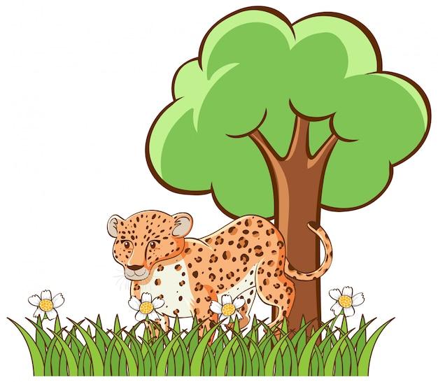 Geïsoleerd beeld van tijger in tuin Gratis Vector