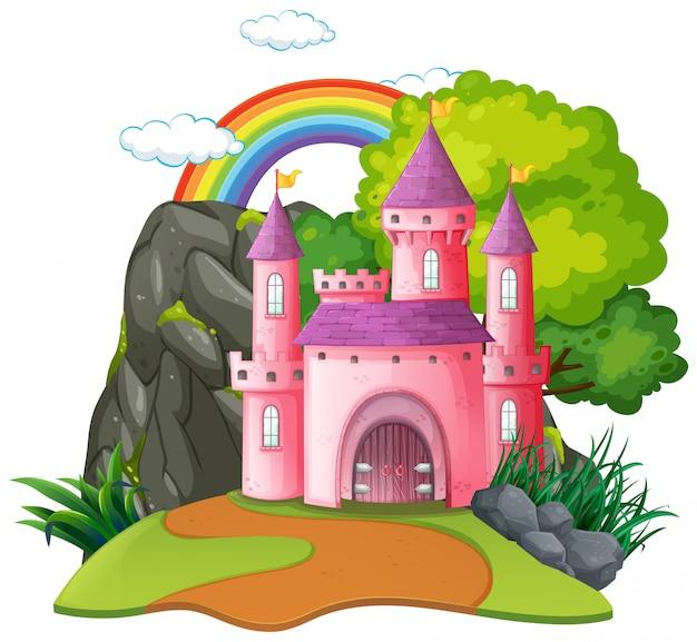 Geïsoleerd fantasie middeleeuws kasteel Gratis Vector