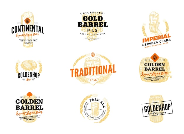 Geïsoleerd gekleurd bierhopetiket met continentale deskundige pils, keizerlijke cerveza clara gouden vat en andere beschrijvingen Gratis Vector