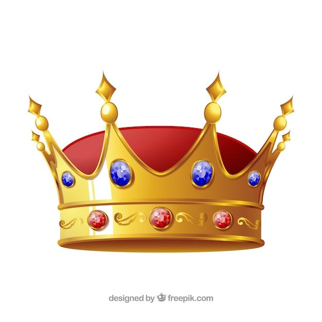 Geïsoleerd kroon met blauwe en rode juwelen Gratis Vector
