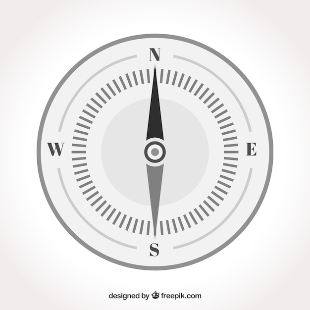Geïsoleerd plat kompas Gratis Vector