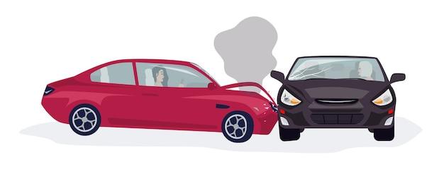 Geïsoleerd verkeer of motorvoertuigongeval of auto-ongeluk Premium Vector