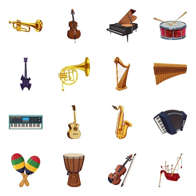 Geïsoleerd voorwerp van muziek en wijs pictogram. verzameling van muziek en gereedschap stock symbool voor web. Premium Vector