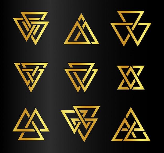 Geïsoleerde abstract gouden kleur driehoeken contour logo ingesteld op zwart Premium Vector