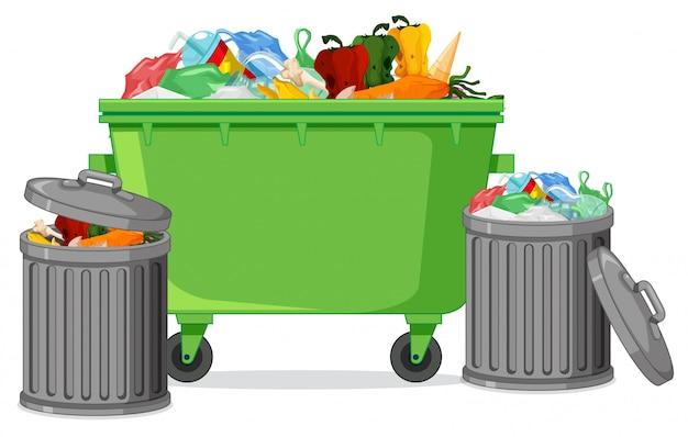 Geïsoleerde afvalcontainer op witte achtergrond Gratis Vector