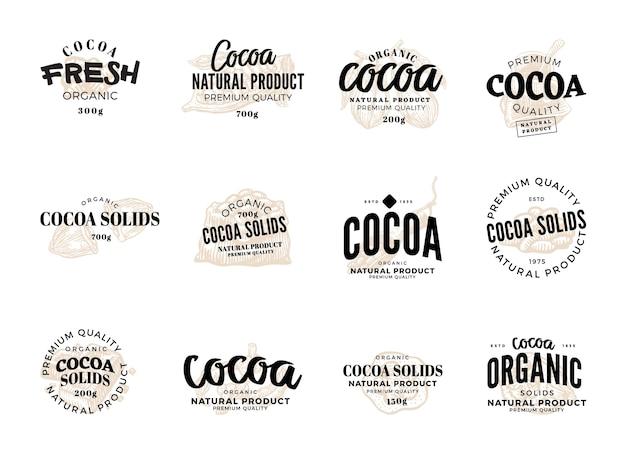 Geïsoleerde cacao label set met cacao verse biologische cacao natuurproduct premium kwaliteit beschrijvingen Gratis Vector