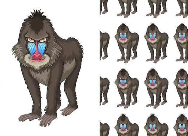 Geïsoleerde dieren patroon cartoon Gratis Vector