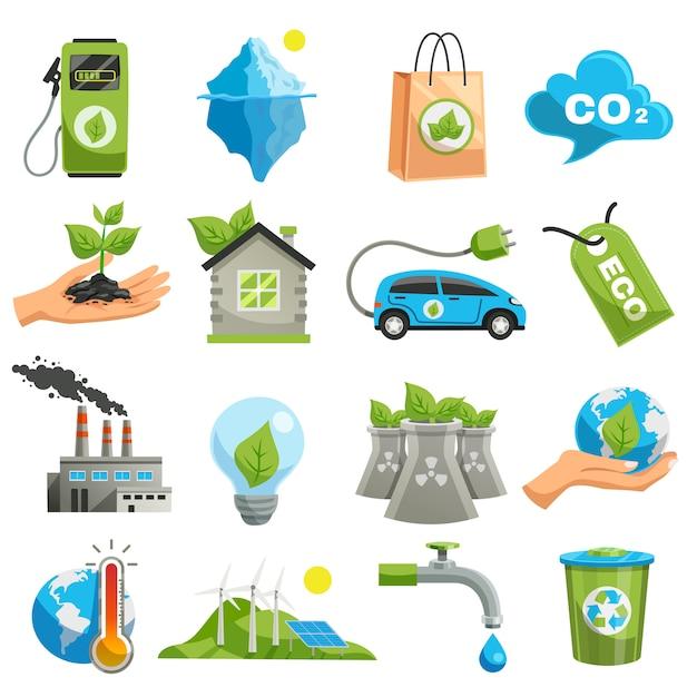 Geïsoleerde eco icon set Gratis Vector