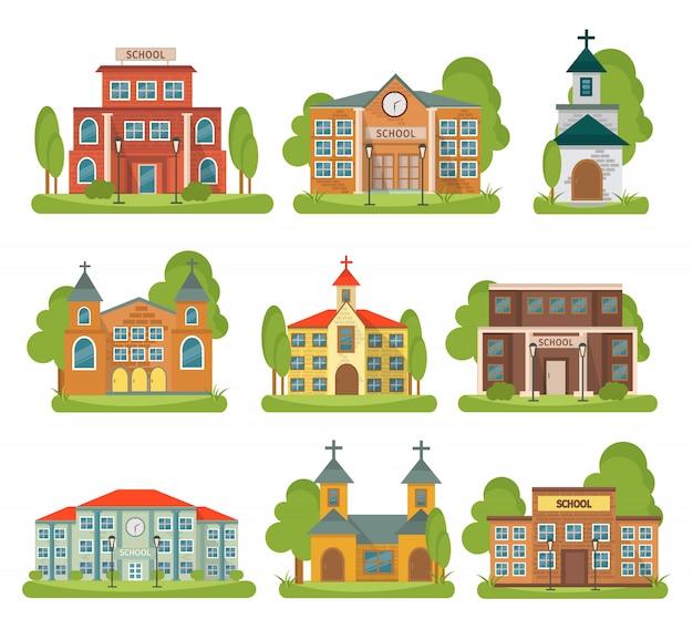 Geïsoleerde en gekleurde bouw schoolkerk die met verschillende types en doeleinden voor gebouwen wordt geplaatst Gratis Vector