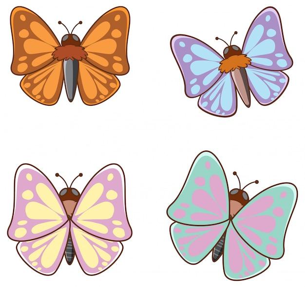 Geïsoleerde foto van vlinders Gratis Vector