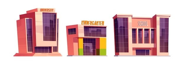 Geïsoleerde gebouwen van school, kleuterschool en universiteit Gratis Vector
