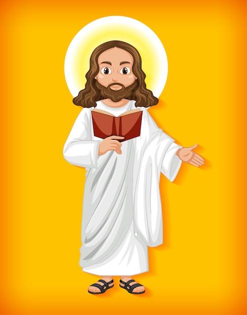 Geïsoleerde jezus stripfiguur Gratis Vector