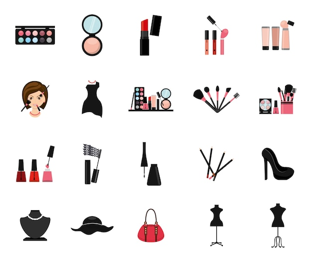 Geïsoleerde make-up icon set Gratis Vector