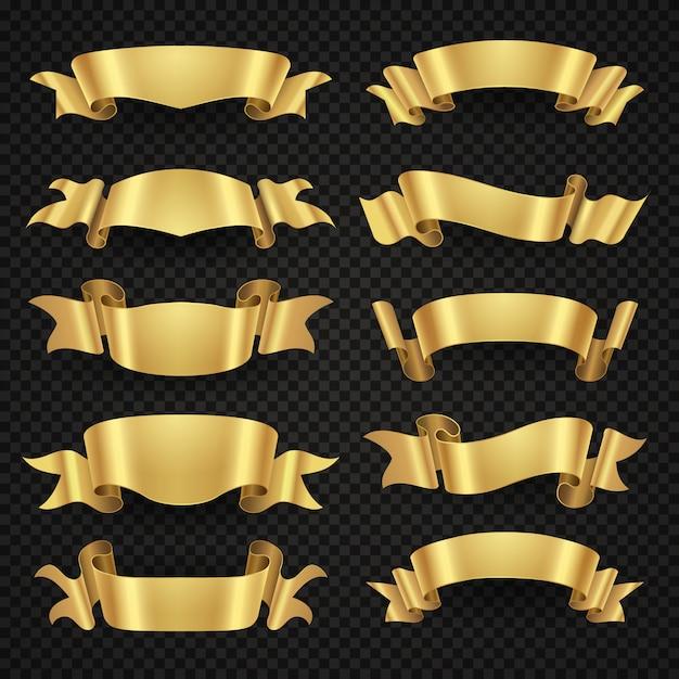 Geïsoleerde moderne gouden glanzende lintbanners Premium Vector