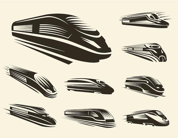 Geïsoleerde monochroom moderne gegraveerde trein logo's set Premium Vector