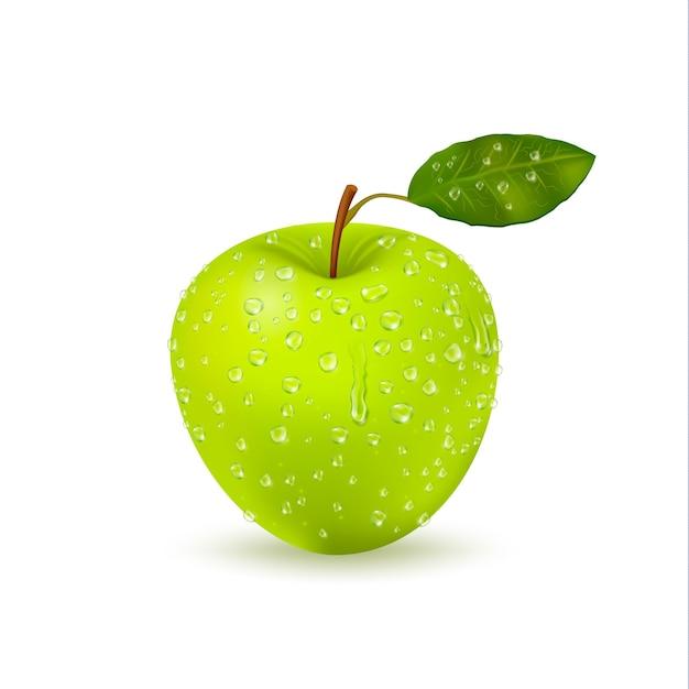 Geïsoleerde natte groene appel met waterdruppels Gratis Vector