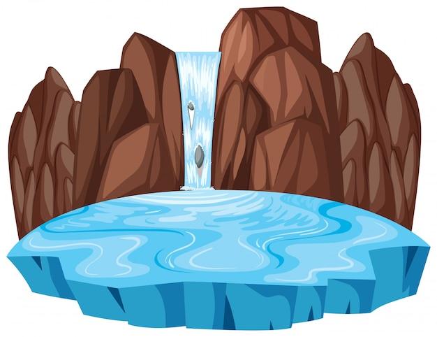 Geïsoleerde natuur waterval landschap Premium Vector