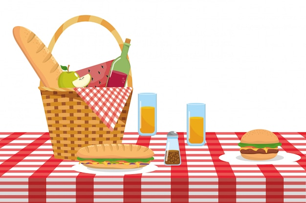 Geïsoleerde picknickmand vectorillustrator Premium Vector