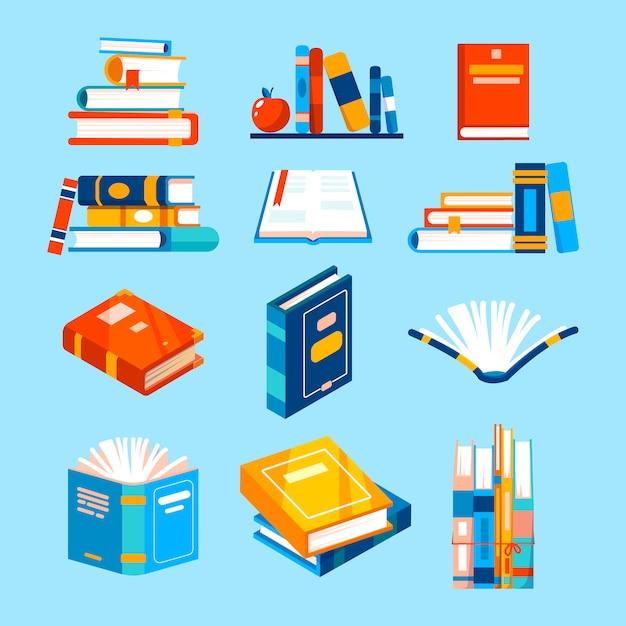 Geïsoleerde pictogrammen over het lezen van boeken. Premium Vector