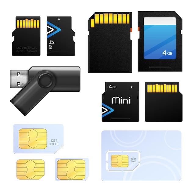 Geïsoleerde realistische geheugenkaart sim icon set met verschillende soorten voor verschillende tech Gratis Vector