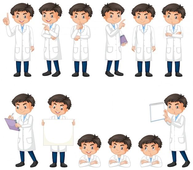 Geïsoleerde reeks van jongen in wetenschapstoga Gratis Vector