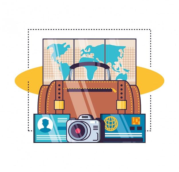 Geïsoleerde reizen icon set Premium Vector