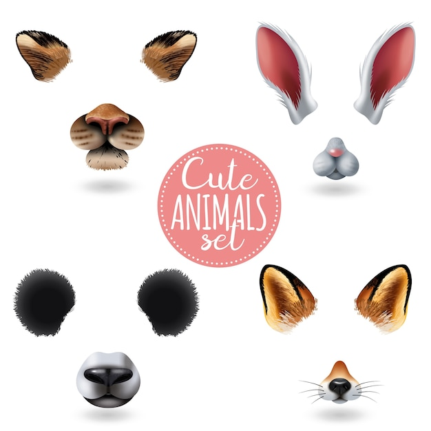 Geïsoleerde schattige dieren gezichten icon set met vier verschillende cartoon muilkorven op wit Gratis Vector