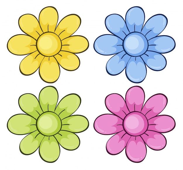 Geïsoleerde set bloemen Gratis Vector
