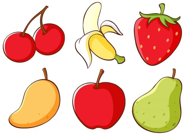 Geïsoleerde set fruit Gratis Vector