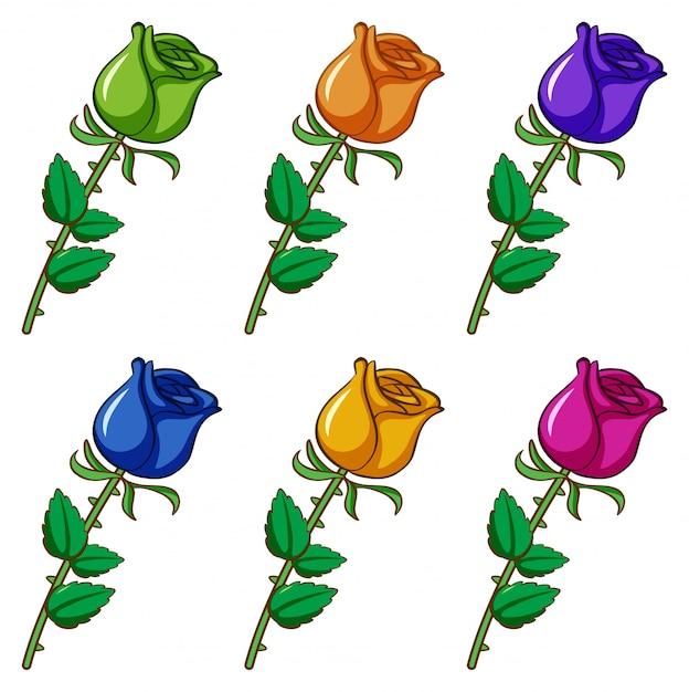 Geïsoleerde set van bloemen in verschillende kleuren Gratis Vector