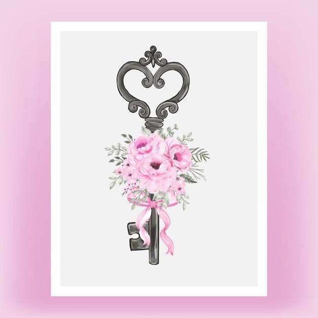 Geïsoleerde sleutel met roze lint en rozen aquarel illustratie Gratis Vector