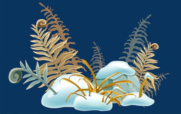 Geïsoleerde sneeuwmuts met droog gras. Premium Vector