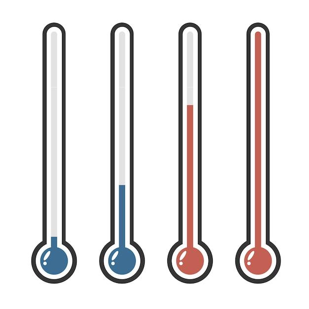 Geïsoleerde thermometers in verschillende kleuren Premium Vector