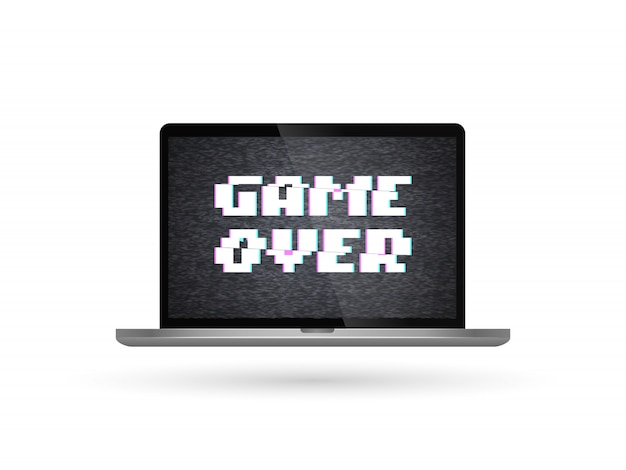 Geïsoleerde vectorlaptop met spel over tekst op het scherm. glitch effect Premium Vector
