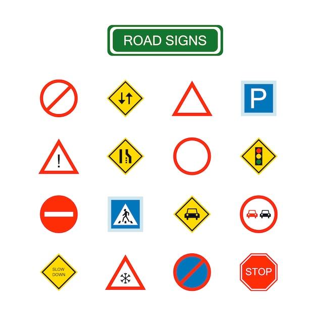 Geïsoleerde verkeersborden voor elk doel. waarschuwingsbord, driehoek. verkeers- en informatiepictogrammen. Premium Vector