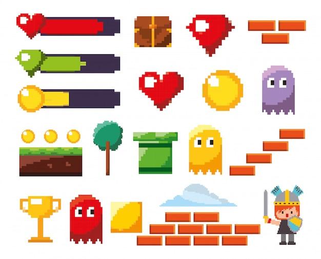 Geïsoleerde videogame icon set Gratis Vector