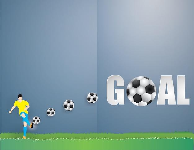 Geïsoleerde voetballermens schop de voetbal op groene grasachtergrond Premium Vector