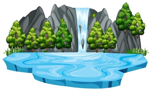 Geïsoleerde waterval landschaps sjabloon Premium Vector